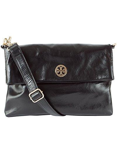 Tory Burch Dena Messenger Cross-body Bag in Black Leather