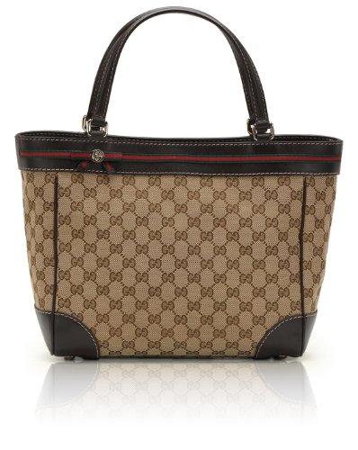 Gucci Mayfair Original GG Fabric Bow Detail Tote [Biege/Ebony w/ Brown Trim] (257061)