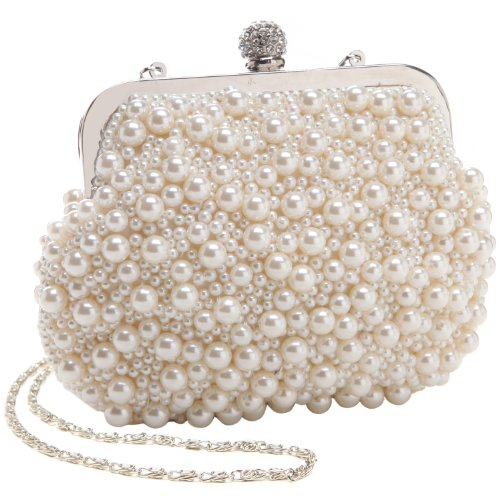 MG Collection Handmade White Pearl Bead Rhinestone Clasp Mini Clutch Evening Bag