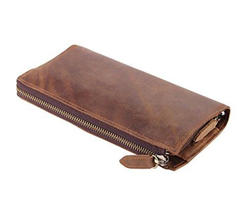 Fenarzo Unisex Vintage Genuine Leather Long Bifold Wallet Clutch Purse Handbag