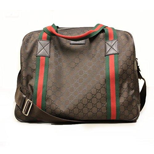 Gucci 374769 Gucci GG Logo Nylon Duffle Bag with Web Detail