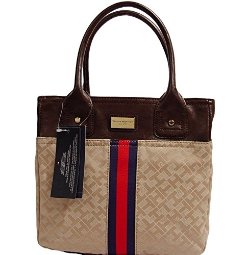 Tommy Hilfiger Small Tote Bag Handbag Purse (Khaki / Beige)