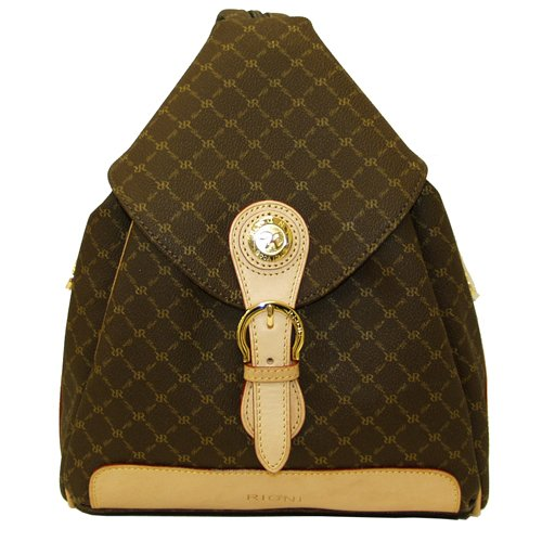 Signature Brown Zipper Strap Backpack Shoulder Bag by Rioni Designer Handbags & Luggage