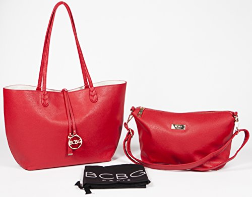 Bcbg Paris Handbag Convertible Reversible Bag Red Off White Stylish Regular Size