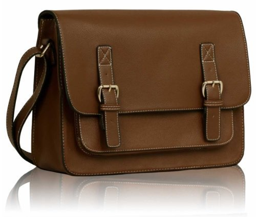 Womens Brown Double Buckles Satchel Messenger Bag Leather Look Smart Office Handbag Handbag KCMODE