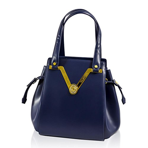 Valentino Orlandi Italian Designer Blue Nappa Leather Gilded Purse Bucket Bag