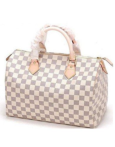 Bushels Handbags Inspired Fashion Totes White Speedy Style Grid Lady Handbags