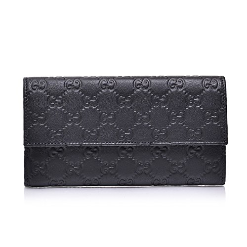 Gucci Women's Gg Guccissima Black Leather Continental Wallet Clutch