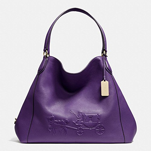 Coach Embossed Horse Carriage Large Edie Shoulder Pebbled Leather Light Gold/violet