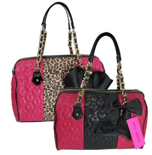 Betsey Johnson Womens Be My Wonderful Satchel Shoulder Bag