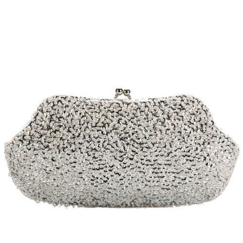 Tinksky® Luxury Beads Chain Wedding Clutches Hand Bags Pearl Embroidery Party Bride Handbag Grey
