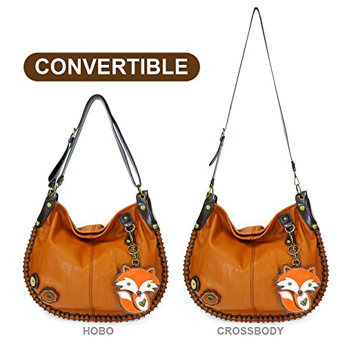 Chala Handbag Charming Hobo Crossbody Large Tote Bag Orange FOX Vegan leathe
