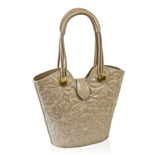 Valentino Orlandi Designer Beige Embroidered Leather Purse Bucket Bag w/Pearls