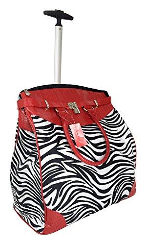 19″ Computer/laptop Bag Tote Duffel Rolling Wheel Padded Case Zebra Black/white