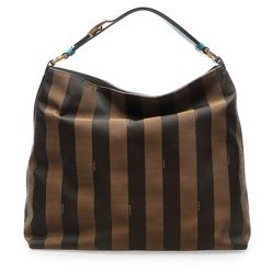 Fendi Authentic Genuine Tobacco/ Tan Pequin-striped Canvas Turquoise Leather Hobo Shoulder Bag