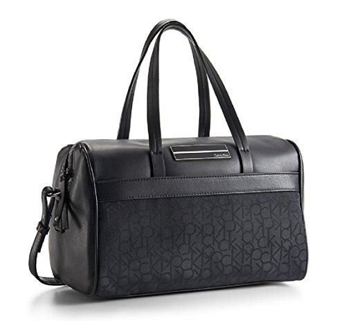 Calvin Klein Logo Jacquard Sport Bowler Satchel Bag Handbag (Black)
