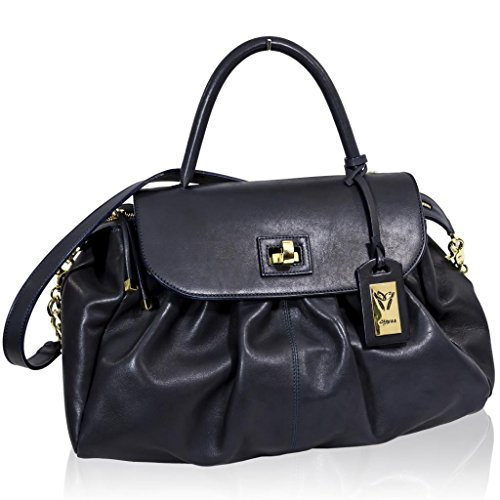 Ghibli Italian Designer Blue Leather Top Handle Large Purse Crossbody Bag