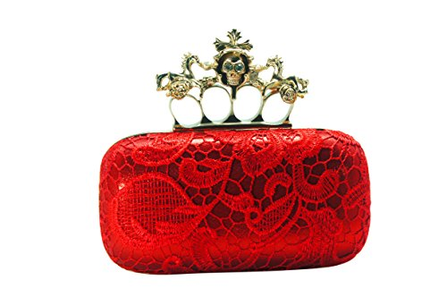 Milanblocks Skull Knuckle Ring Unicorn Red Lace Box Evening Wedding Party Clutch Handbag Purse