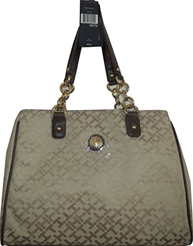 Tommy Hilfiger Handbag Satchel Bag Canvas Beige XXL Gold Chain