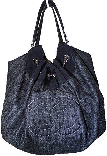 Chanel Small Tote Bag Dark Blue Denim Shoulder Bag