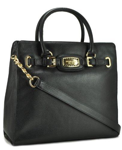 Michael Kors Hamilton Jewel Womens Leather Large Tote, Black, One Size