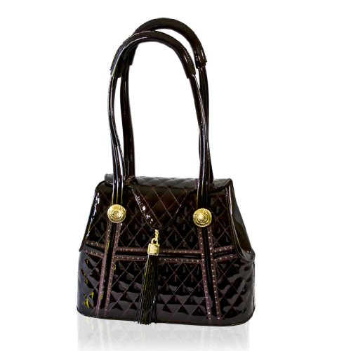 Valentino Orlandi Designer Mocha Brown Quilted Leather Swarovski Purse Bag