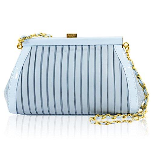 Valentino Orlandi Italian Designer Ice Blue Plisse Textured Leather Clutch w/Chain