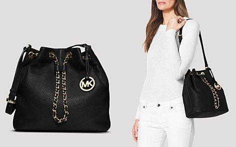 Michael Kors Frankie Large Drawstring Shoulder Bag Black