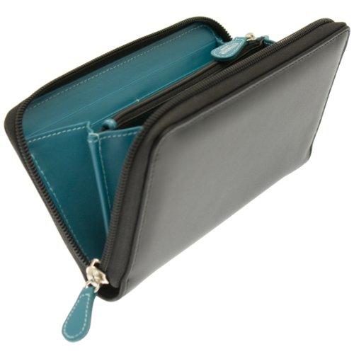 Ettinger Leather Zip-around Purse – Black with Turquoise Interior