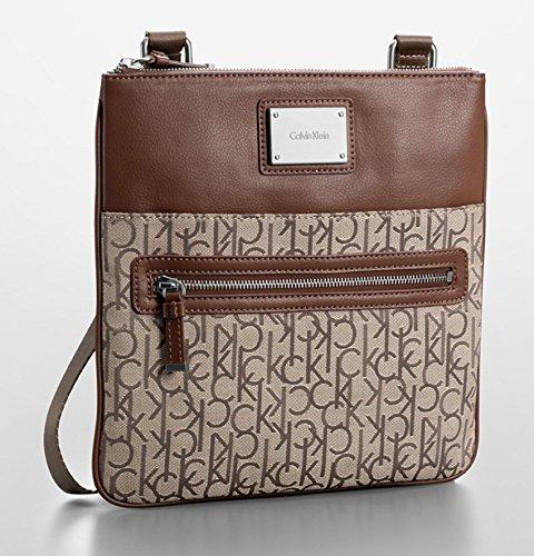 Calvin Klein Logo Jacquard Crossbody Flat Pack Handbag Bag (Natural)