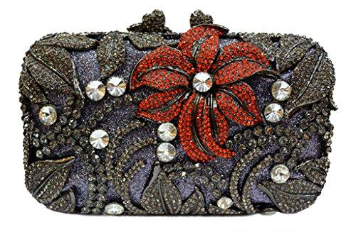 MISSBAGS Vintage Evening Clutch Floral Royal Handbag Celebrity Party Clutch Bridal Rhinestone Studded Evening Bag
