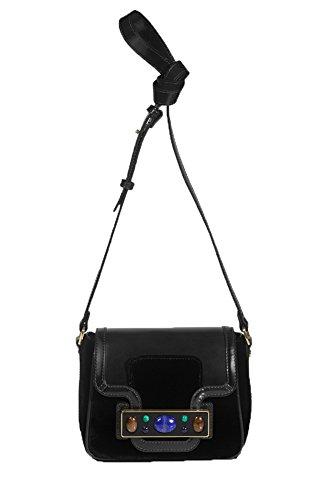 Tory Burch Jeweled Velvet Shoulder Bag, Black