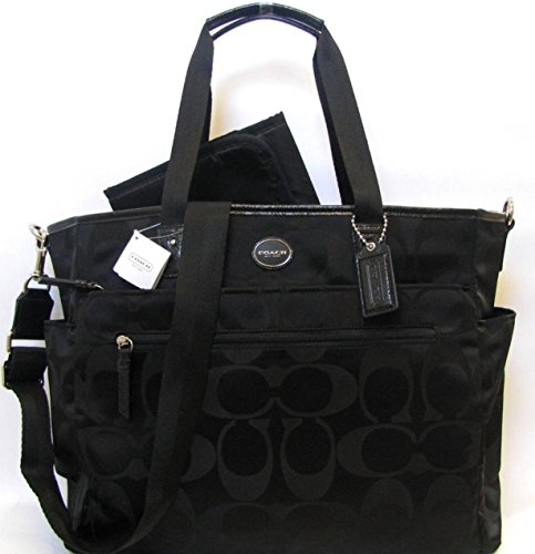 COACH Signature Nylon Baby Bag/ Multifunction Tote in Silver / Black 77577