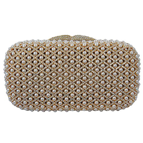 Gold Plated Clutch with Pearls and Swarovski Element Crystals