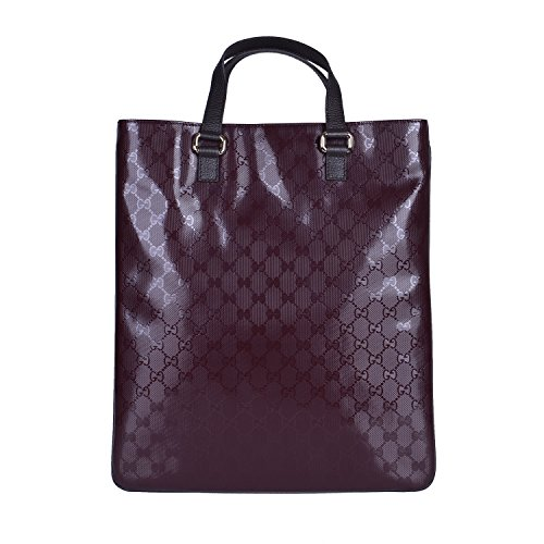 Gucci Women's Burgundy Canvas Leather Trimmed Guccissima Print Tote Handbag Bag