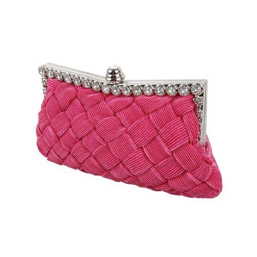 BMC Womens Evening Elegant Jeweled Rhinestone Pleated Cocktail Party Handbag