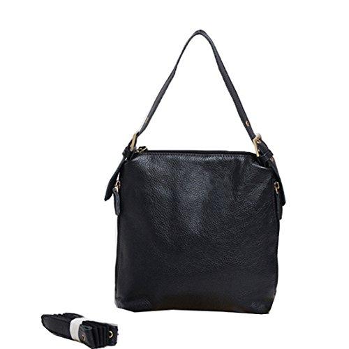 Heshe 2014 New Genuine Leather Vintage Simplicity Cross-body Shoulder Bag Satchel Zipper Closure Handbag for Women