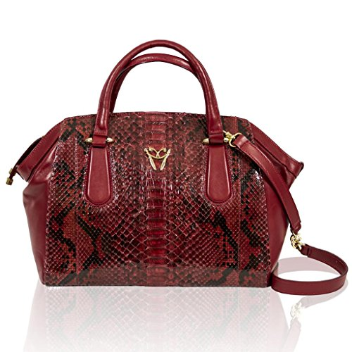 Ghibli Italian Designer Garnet Red Python Leather Large Satchel Crossbody Bag