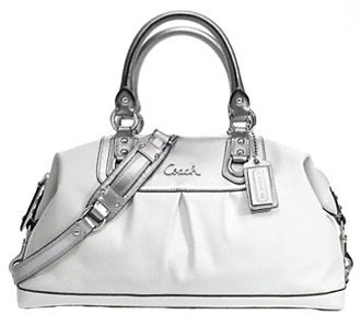 Coach Two-Tone Leather Sabrina Ashley Large Satchel Bag 15447 White/Silver