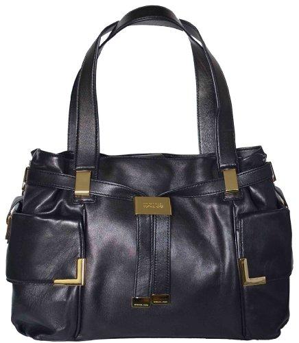 Michael Kors Beverly Large Leather Drawstring Satchel, Black