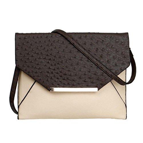 BMC Faux Ostrich Leather Dual Colored Envelope Style Fashion Shoulder Handbag