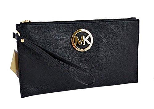 Michael Kors Fulton Large Black Leather Top Zip Clutch / Wristlet