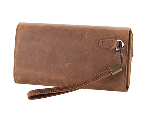 Fenarzo Unisex Leather Clutch Wallet Wristlet Handbag Card Holder Coin Purse