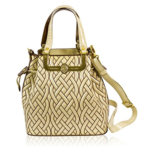 Valentino Orlandi Italian Designer Cream/bronze Quilted Leather Gilded Bucket Bag
