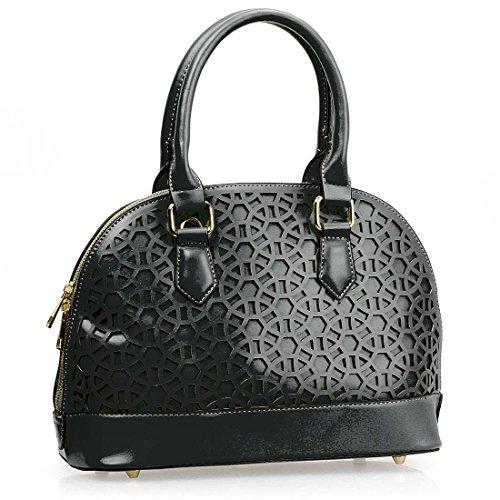 BMC Womens PU Faux Leather Perforated Cutout Pattern Boston Top Handle Handbag