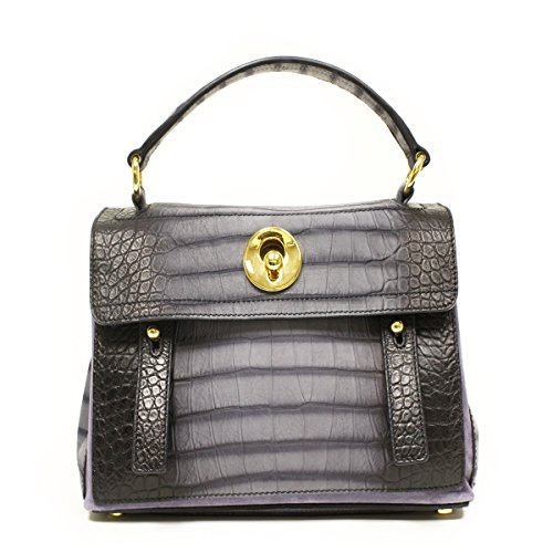 Ysl Muse 2 Yves Saint Laurent Muse Two Small Blue Croc Embossed Satchel Bag 348948