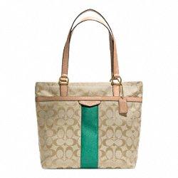 Coach Signature Stripe Tote Khaki & Emerald Green – Style 28504