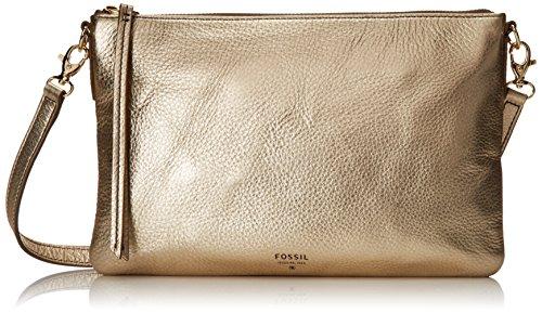 Fossil Sydney Top Zip Cross Body Bag, Metallic Gold, One Size