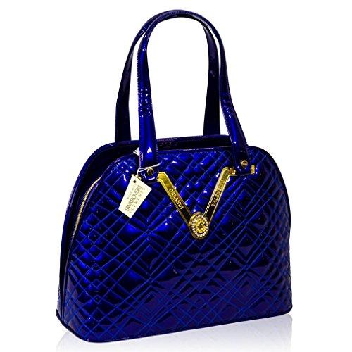Valentino Orlandi Italian Designer Cobalt Blue Quilted Leather Gilded Bowling Bag