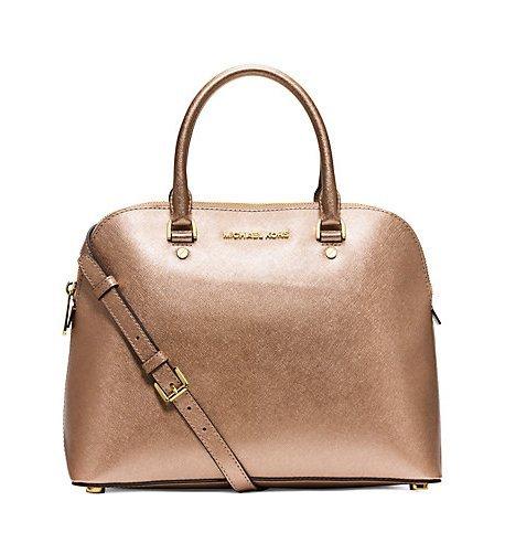 Michael Kors Cindy Large Metallic Saffiano Leather Satchel Pale Gold